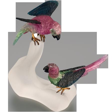 Tourmaline Parrot Carvings